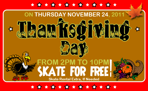 Come skate for FREE on Thanksgiving Day!