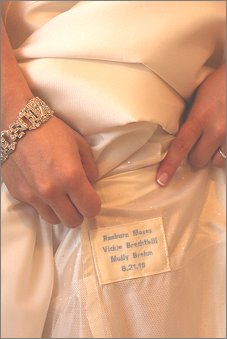 A brides custom dress label