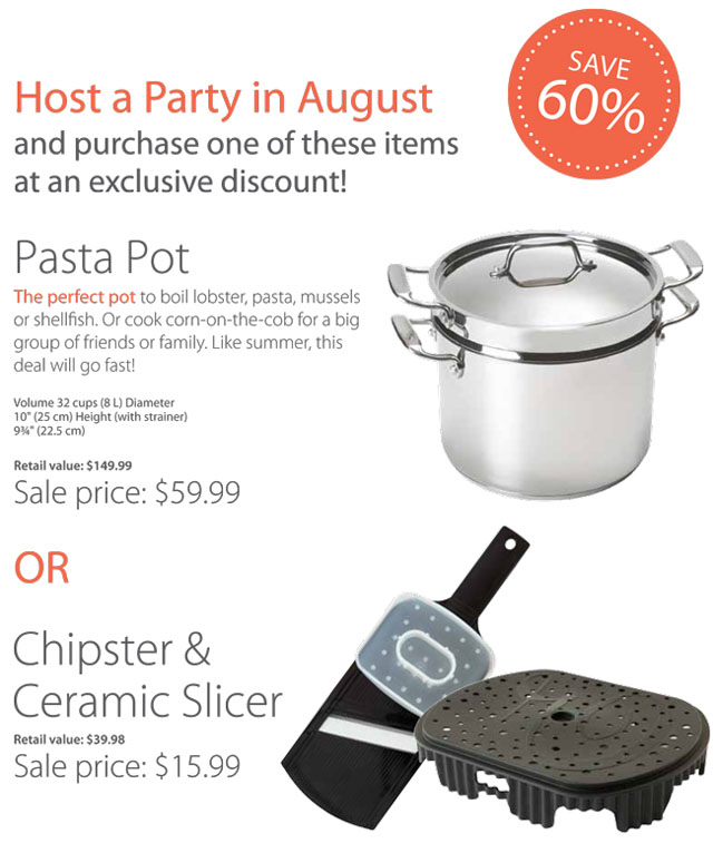 August Hostess Specials Epicure Selections