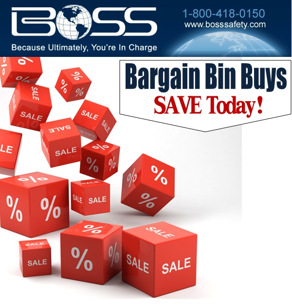 Boss Safety Products Bargain Bin Buys Sales.  Checkout all the discounted products in our bargain bin and take an additional 10% off.  Limited time so act fast.