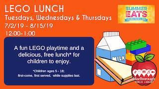 Marlborough Public Library Lego Lunch