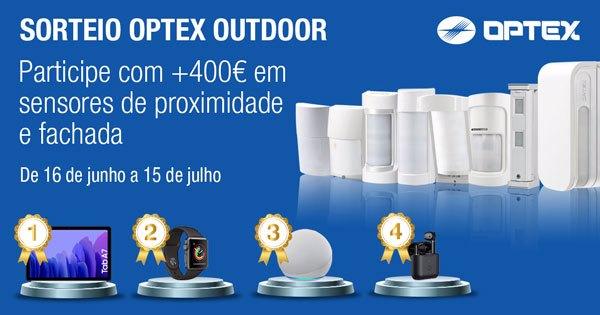 Sorteio de 4 presentes para compras de +400€, sem IVA sobre todos os sensores OPTEX exteriores!