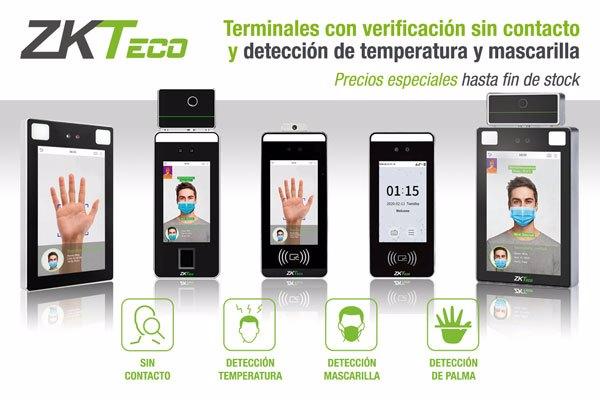Terminales con verificación sin contacto y detección de temperatura y mascarilla