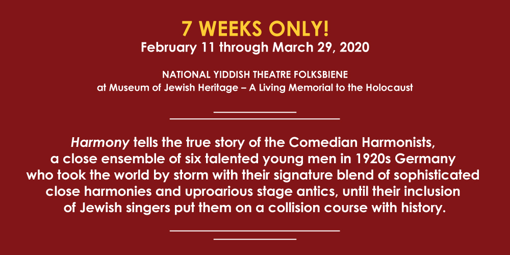 Harmony tells the true story of the Comedian Harmonists, a close ensemble of six talented young men in 1920s Germany who took the world by storm with their signature blend of sophisticated close harmonies and uproarious stage antics, until their inclusion of Jewish singers put them on a collision course with history.