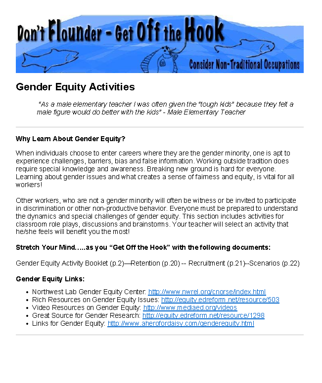 Gender Equity Exercises
