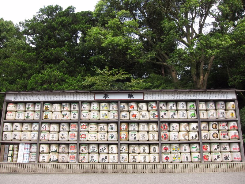 Taru stacked up as an offering at a Shinto shrine