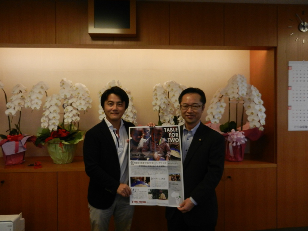 Minister Furukawa, promoting another related project, Table for Two