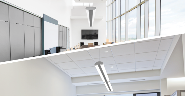 Allura A luminaire suspended in a boardroom application, img of Allura B suspended in an office Application