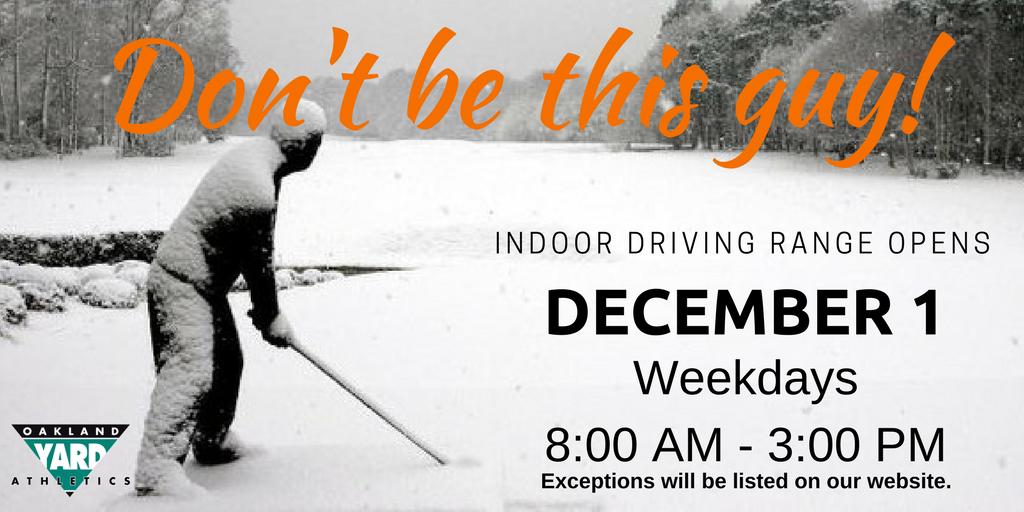Indoor driving range opens 12/1