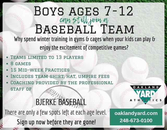 Boys Baseball ages 7-12 join a house team
