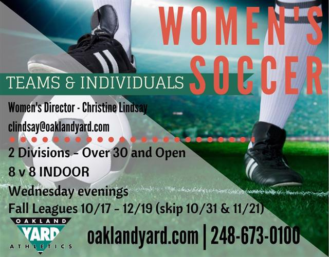 Women's open and over 30 soccer leagues