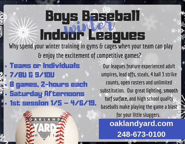 Boys Baseball League 7U 8U 9U 10U Wiinter Indoor