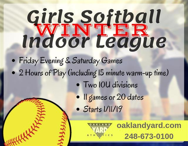 Girls 10U Indoor Softball Fastpitch League
