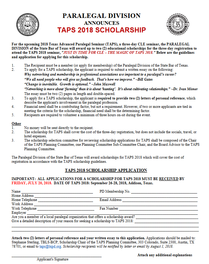 TAPS Scholarship -- Applications Due by July 20, 2018