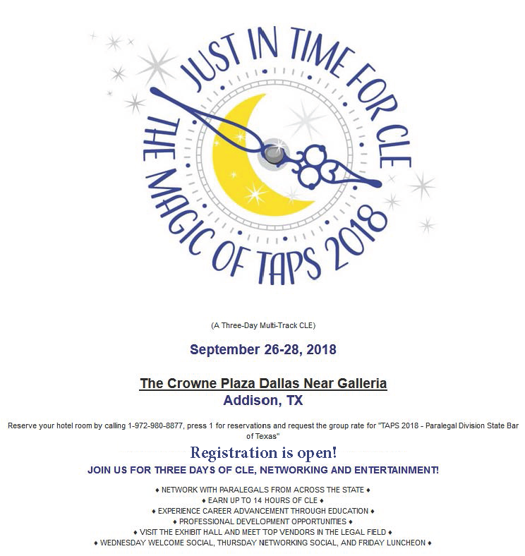 TAPS 2018 ... Click to Register Online!Today!