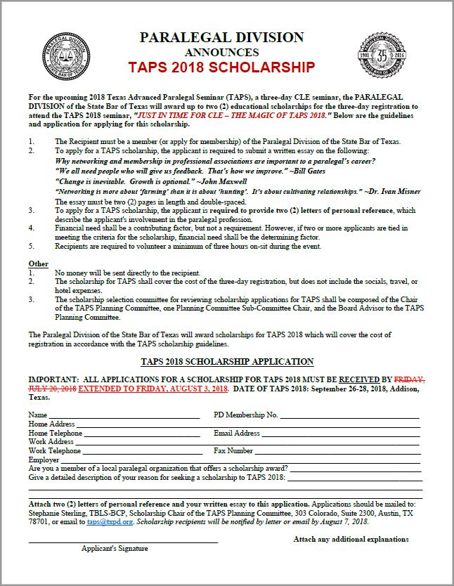 TAPS Scholarship -- DEADLINE EXTENDED