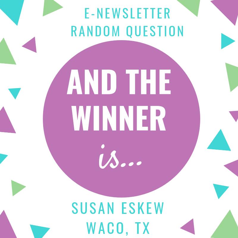 Congratulations, Susan!