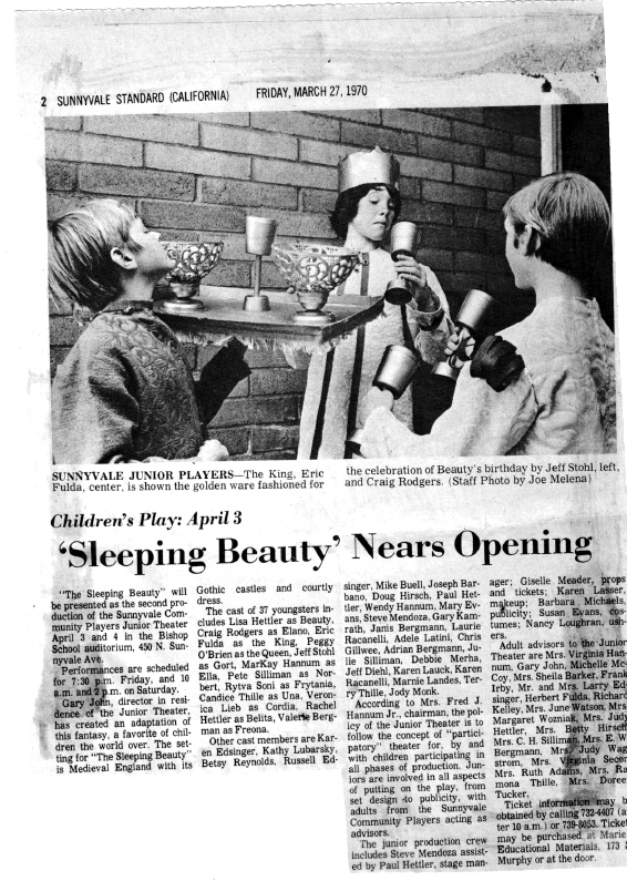 Newspaper clipping about Sleeping Beauty (Junior Production) - 1969-1970 season
