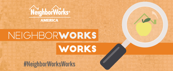 NeighborWorks Works header with orange background and a magnifying glass that magnifies a yellow apple