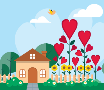 Graphic of a home and heart-shaped flowers.
