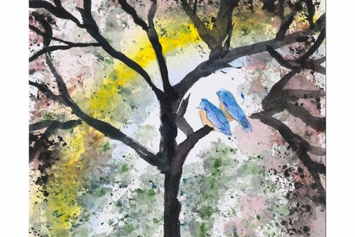 Painting of two love birds in a tree