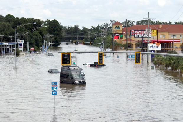 streets flooded in Baton Rouge