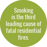 Smoking is the third leading cause of fatal residential fires.