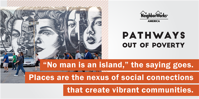 "A graphic of a mural with a quote and ""Pathways Out of Poverty"""