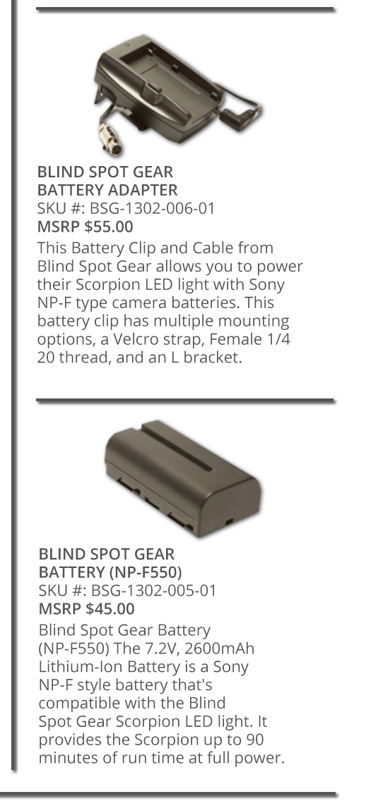 Blind Spot Gear Battery Adapter