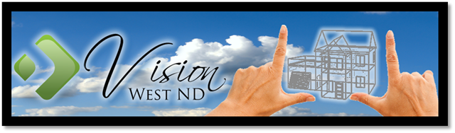 Vision West ND logo (green geometric design, script letter font) on sky background, sketch of house framework between two hands