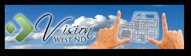 Vision West ND logo (green geometric design, script letter font) on sky background, sketch of house framework between two hands