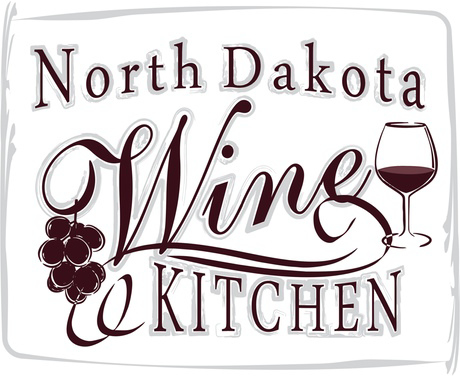 North Dakota Wine Kitchen Logo. White Background w/burgundy letters, image of wine glass and grapes.
