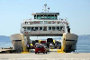 Cars loading onto a ferry