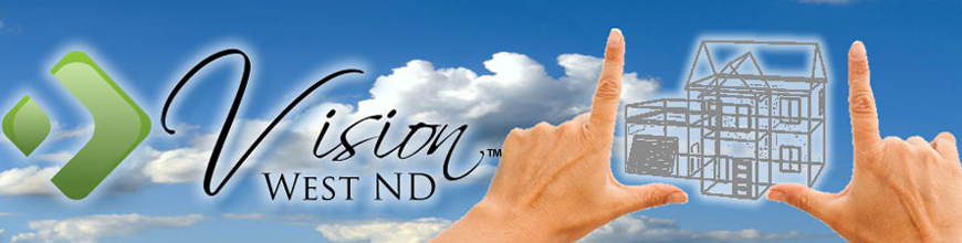 Vision West Logo with sky background, image of house between two hands