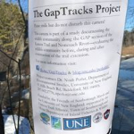 Image of a Gap Tracks sign on the trail