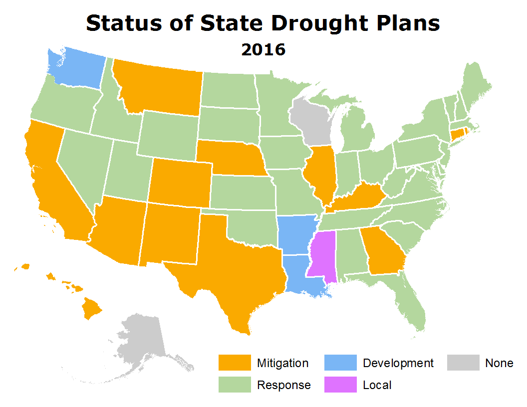 State Drought Plans map