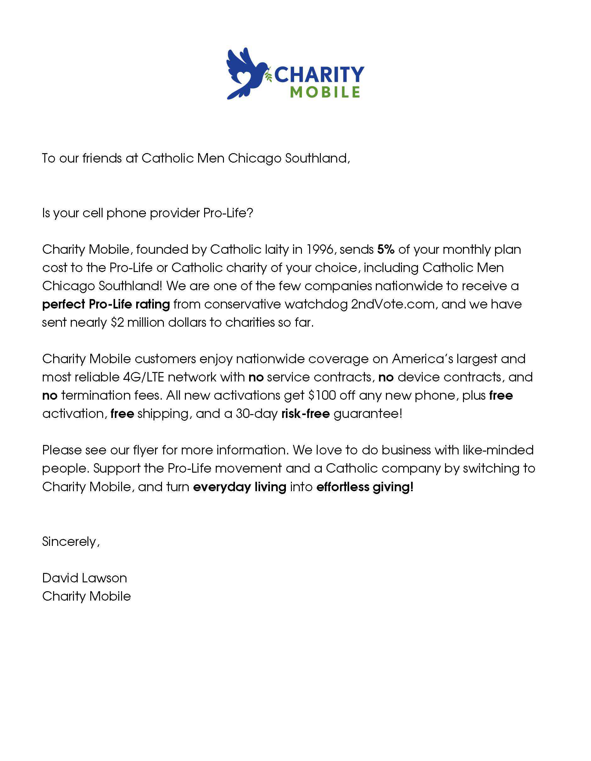Charity Mobile Appeal Letter
