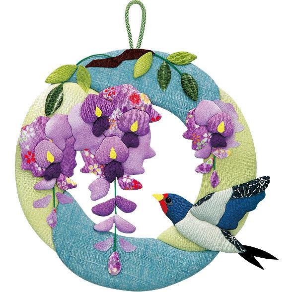 ツバメと藤の花