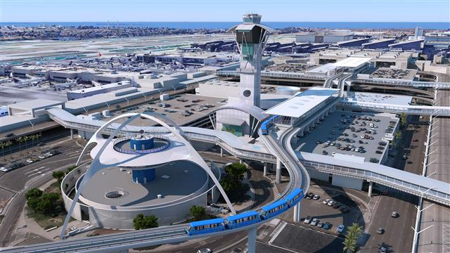 Aerial rendering of People Mover Train and LAX Theme building