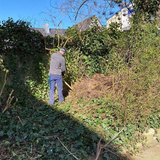 Rafal Senkow (Housekeeping-Mitarbeiter) unterstützt in der Gartenpflege
