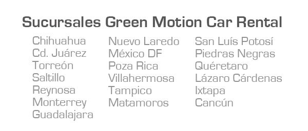 Green Motion Car Rental - Sucursales Green Motion